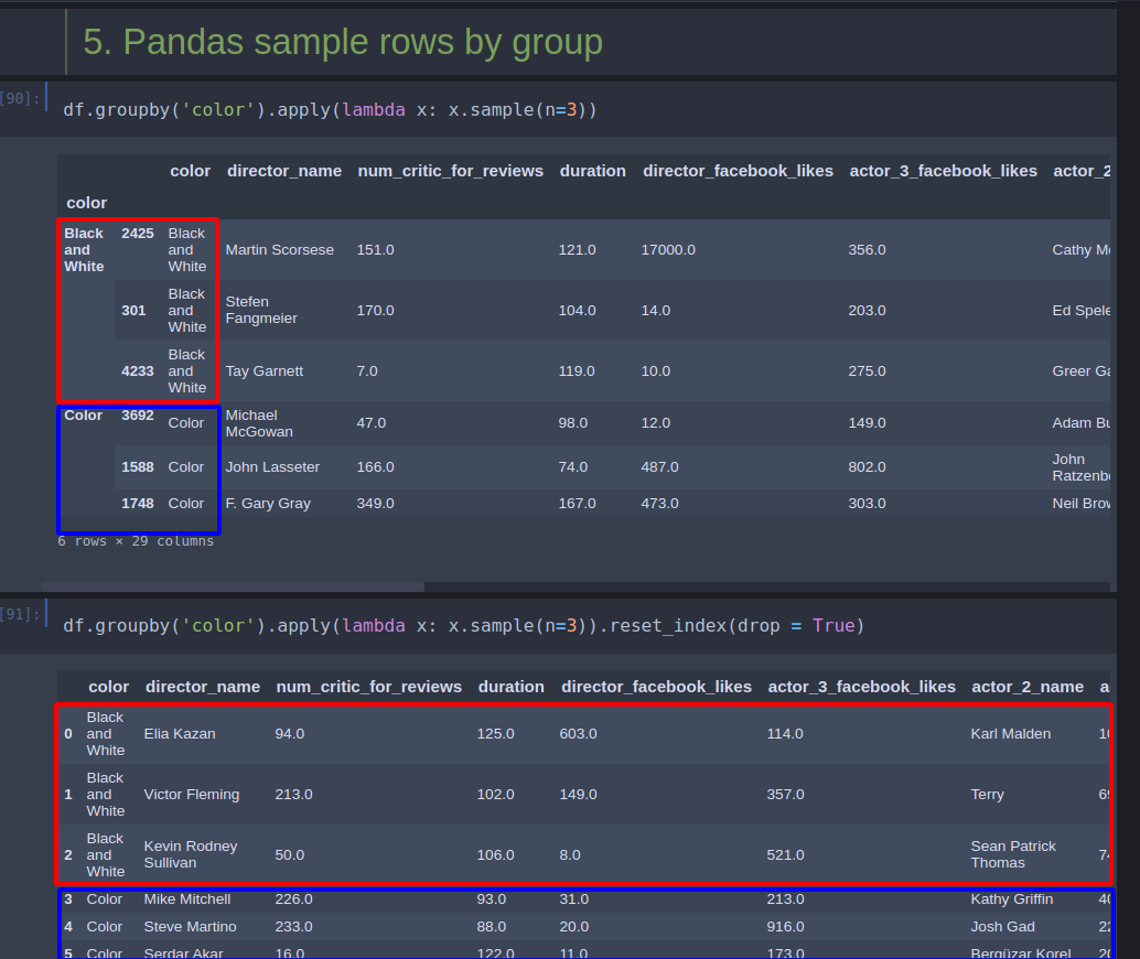 Pandas - Random Sample of a subset of a DataFrame - rows or columns -  Softhints