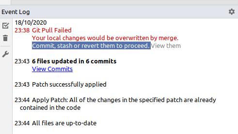 pycharm-git-pull-failed-local-changes-overwritten