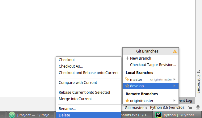 PyCharm how to delete a git branch locally and remotely