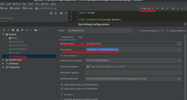 Run and debug Scrapy projects with PyCharm