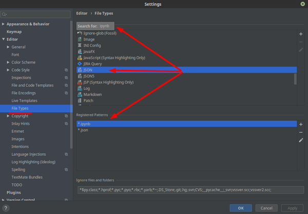 PyCharm 2019+ Change File Association and File Types