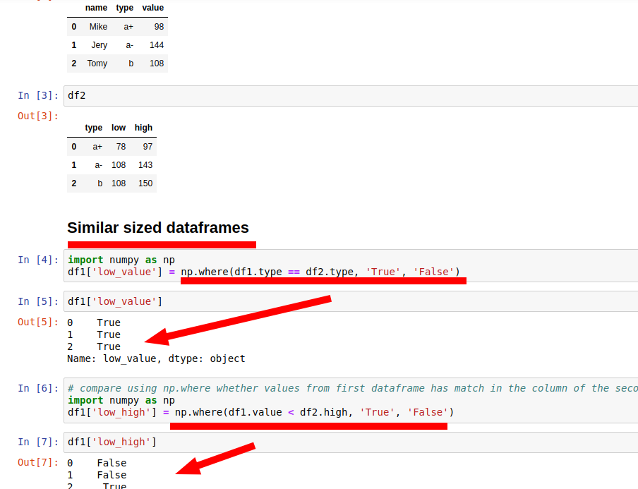 Pandas compare columns in two DataFrames