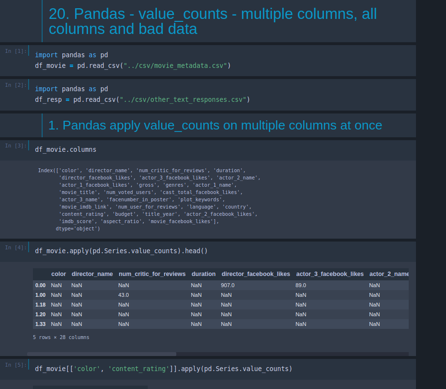 Pandas - value_counts - multiple columns, all columns and bad data