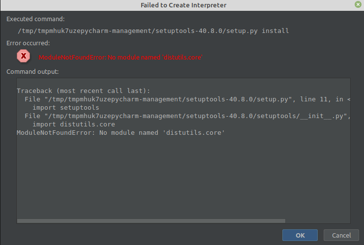 PyCharm virtualenv ModuleNotFoundError: No module named 'distutils.core'